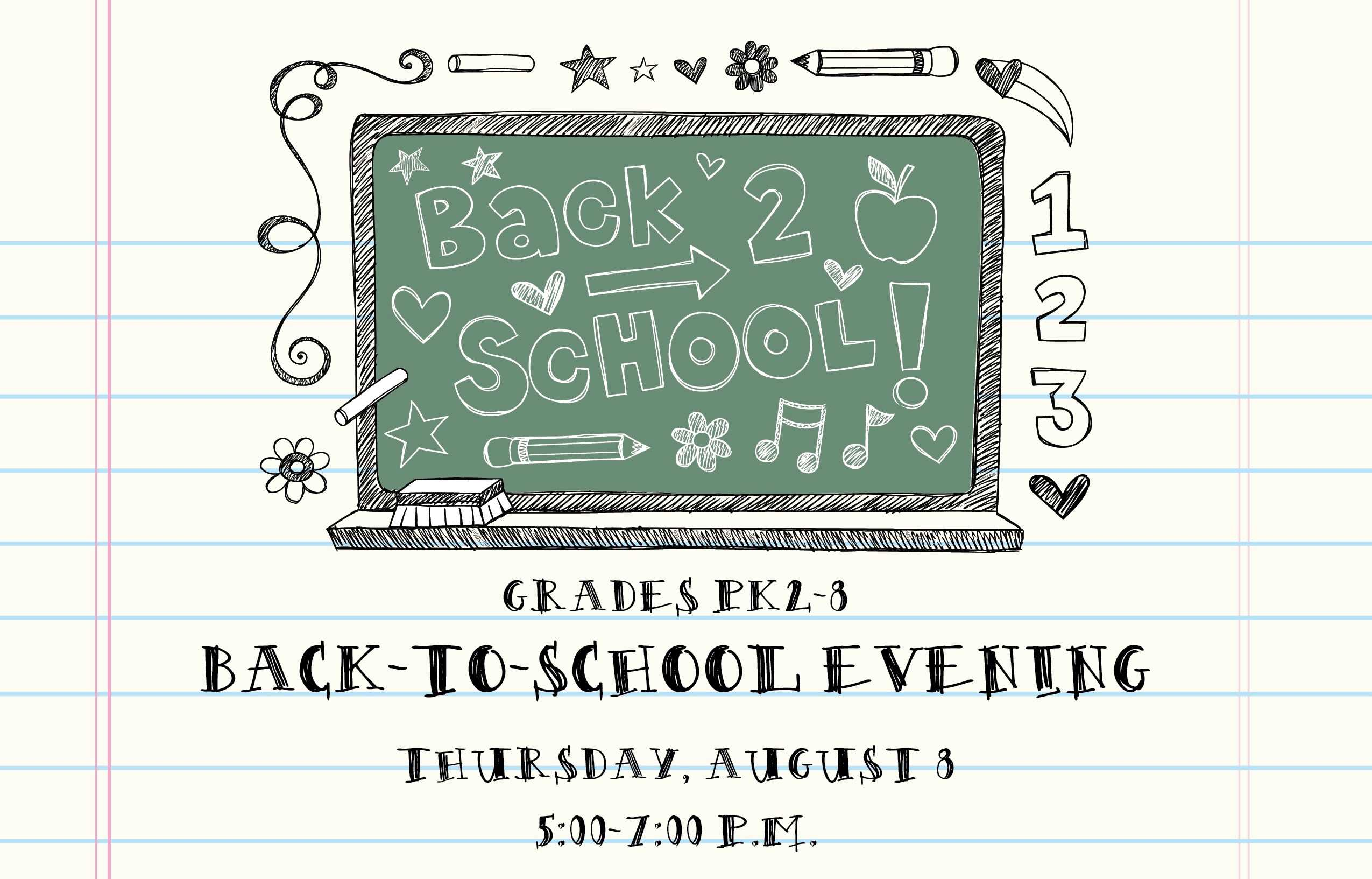 PK2-8 Back-to-School Night August 8
